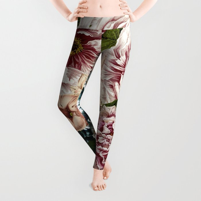 Vintage Peony and Ipomea Pattern - Smelling Dreams Leggings