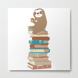 Sloth with coffee on books Metal Print