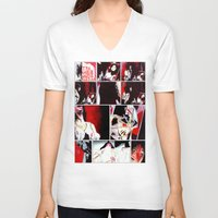 gore V-neck T-shirts featuring The Gore Gore Girls by Zombie Rust