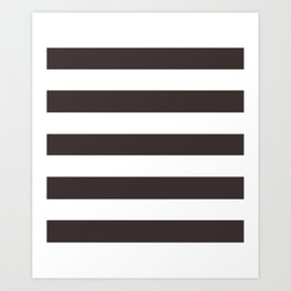 Black coffee - solid color - white stripes pattern Art Print