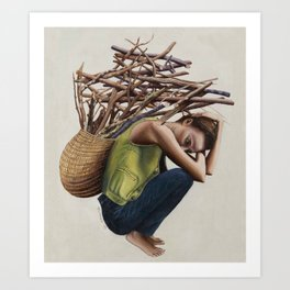 Women with sticks on her back Art Print