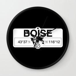 BoiseIdaho GPS Coordinates Map Artwork with Compass Wall Clock