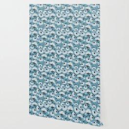 Cotton Flowers on Blue Pattern Wallpaper