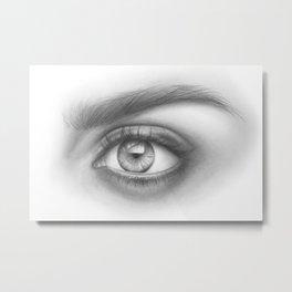 Eye Art | Sexy Girl | Beauty | Model | Woman Face | Graphite Drawing| Pencil Black and White Art Metal Print