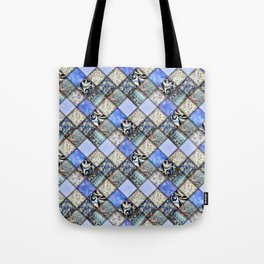 Faux Patchwork Quilting - Blues Tote Bag