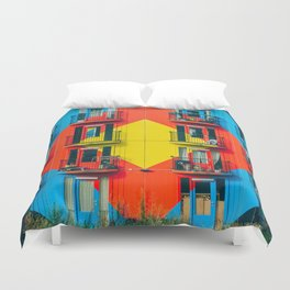 APARTMENTS - BLUE - RED - YELLOW - BALCONIES - PHOTOGRAPHY Duvet Cover