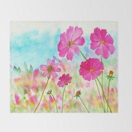 Symphony In Pink, Watercolor Wildflowers Throw Blanket