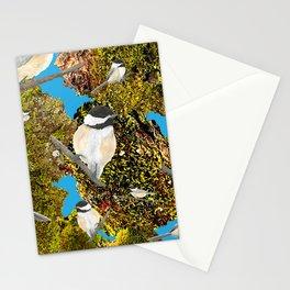 Black Cap Chickadee on Moss Stationery Cards