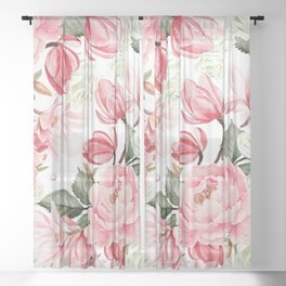 Floral Kingdom Watercolor Painting Pink Red Peony Flowers Painting Green Leaves Floral Design Sheer Curtain