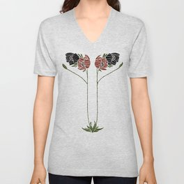 Abstract poppies by Seasons K Designs Unisex V-Neck