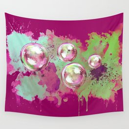 Soap bubbles in the sky watercolor painting Wall Tapestry