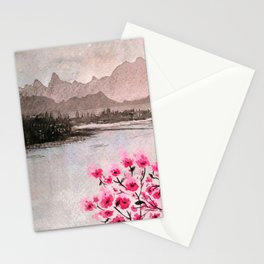 Pink Flowers and Mountain Landscape Stationery Cards