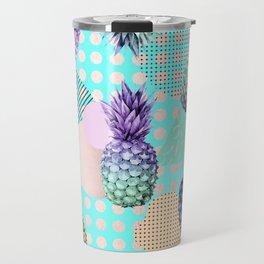 Pineapple Summer Rainbow Rose Gold Travel Mug