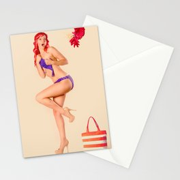 """Crackle Pop"" - The Playful Pinup - Fourth of July Fireworks Pinup Girl by Maxwell H. Johnson Stationery Cards"