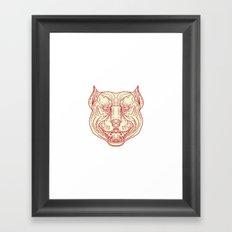 Pitbull Dog Mongrel Head Mono Line Framed Art Print
