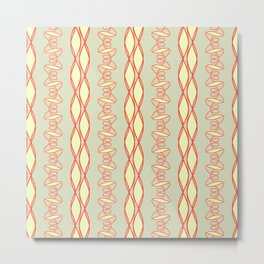 Coral Green Pattern Metal Print