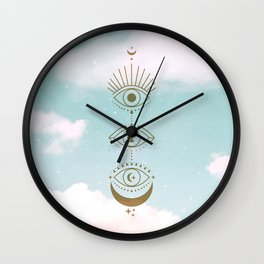 Gold Eyes Moon Phases Cloudy Wall Clock