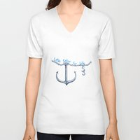 sam smith V-neck T-shirts featuring Sam Little Sailor by Annette Jimerson