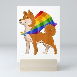 Vintage Gay Pride Flag Shiba Inu T-Shirt LGBT Pride Gifts Mini Art Print