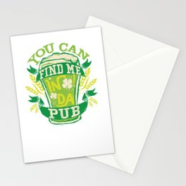 Find Me In Da Pub St Patricks Day Stationery Cards