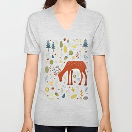 Deer and Forest Things Unisex V-Neck