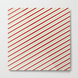 Christmas Striped Green Red Pattern Metal Print
