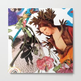collage detail - woman with leafy head Metal Print