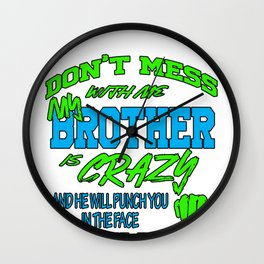 Brother Crazy Face Punch Man Family Relative Gift Wall Clock