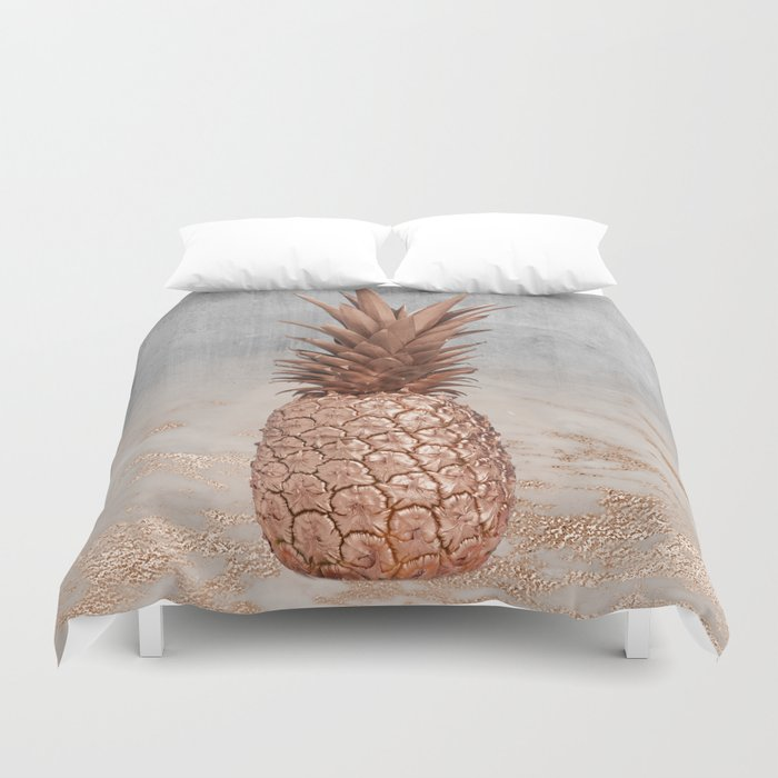 Pineapple In Glitter Marble Rose Gold And Concrete Duvet