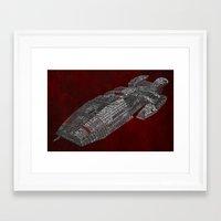battlestar Framed Art Prints featuring Battlestar Galactica Poster Art by Skahfee Studios