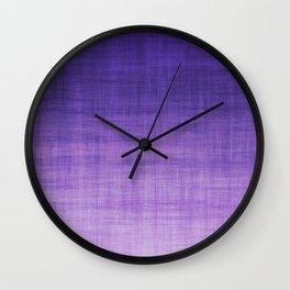 Ultra Violet Purple Linen Ombre Textile Grunge Woven Cotton Gradient Texture Lavender Lilac Pattern Wall Clock