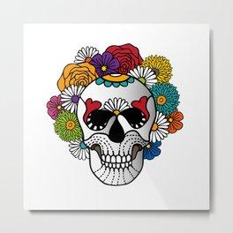 Bright Curly Sugar Skull Metal Print