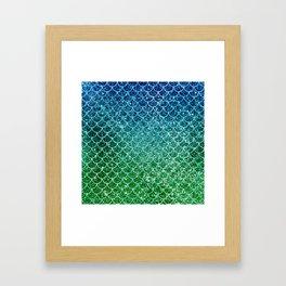 Mermaid Blue & Green Glitter Ombre Scales Framed Art Print