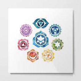 Yoga Art, Chakra, Namaste Wall Art, 8 Chakras Metal Print