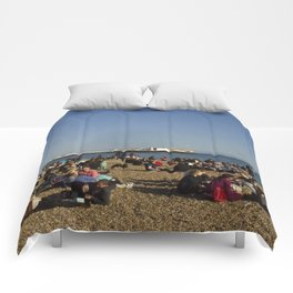 Busy Brighton Beach Comforters