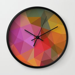 Autumn Leaves Low Poly Wall Clock