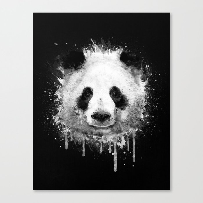 Cool abstract graffiti watercolor panda portrait in black white canvas print