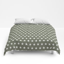 White stars on olive green pattern Comforters