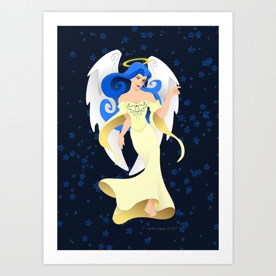 Blue Hair Angel Art Print