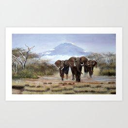 A Painting of aproching Elephants of Mt.Kilimanjaro Art Print