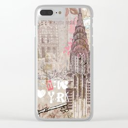 Vintage collage brown pink typography New York Landmark Clear iPhone Case