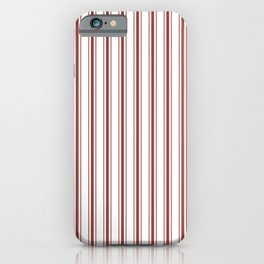 Vintage New England Shaker Barn Red Milk Paint Mattress Ticking Vertical Wide Striped iPhone Case