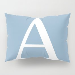 Letter A sign on placid blue color background Pillow Sham