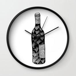 Wine Bottle, Grape Pattern, Wine Lovers Illustration, Black & White Wall Clock
