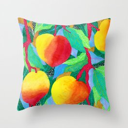 summer peaches Throw Pillow