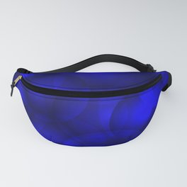 Glowing blue soap circles and volume sea bubbles of air and water. Fanny Pack
