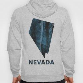 Nevada map outline Dark blue streaked watercolor Hoody