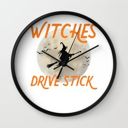 Witches Drive Stick Happy Halloween Trick Or Treat Wall Clock