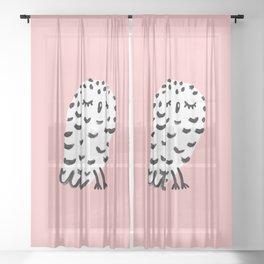 Snowy Owl Painting Sheer Curtain