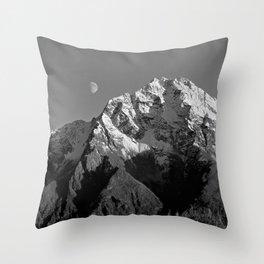 Moon Over Pioneer Peak B&W Throw Pillow